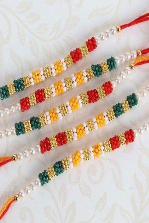 Five Colorful Tiny Beads Rakhi Set