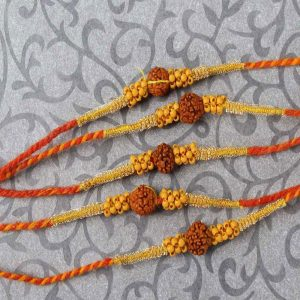 Special Rudraksha with Tiny Wooden Beads Rakhi