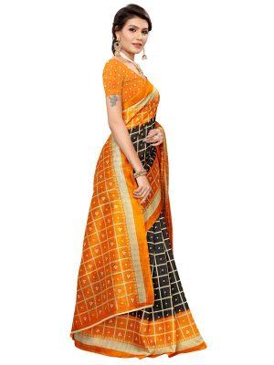 Bandhani Checks Black Art Silk Printed Saree With Blouse