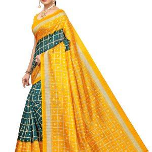 Bandhani Checks Green Art Silk Printed Saree With Blouse
