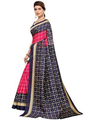 Bandhani Checks Pink Art Silk Printed Saree With Blouse