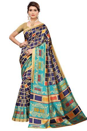 Valentine Navy Art Silk Printed Saree With Blouse
