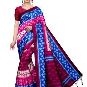 Audi Blue Banarasi Art Silk Printed Saree With Blouse