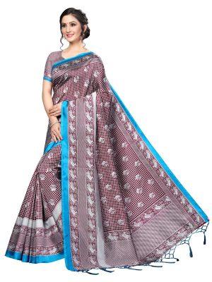 Bulbul Coffee Banarasi Art Silk Printed Saree With Blouse