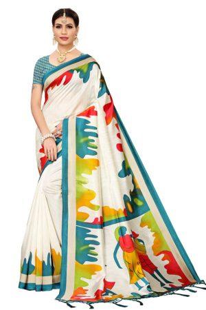 Phulkari Rama Banarasi Art Silk Printed Saree With Blouse