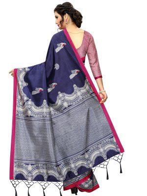 Silver Navy Banarasi Art Silk Printed Saree With Blouse