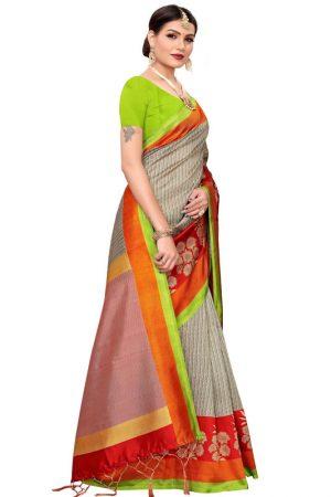 Sunsrise Navy Banarasi Art Silk Printed Saree With Blouse