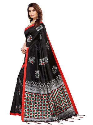 Tabassum Black Banarasi Art Silk Printed Saree With Blouse