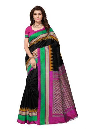 Bela Black Bhagalpuri Silk Printed Saree With Blouse