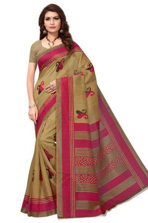 Fish Pink Bhagalpuri Silk Printed Saree With Blouse