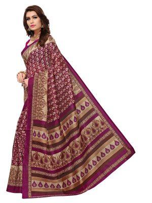 Multi-Keri Wine Bhagalpuri Silk Printed Saree With Blouse