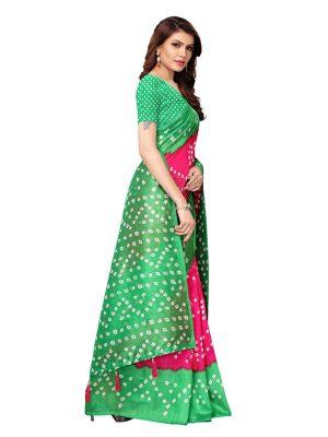 Rajwadi Pink Green Bhagalpuri Silk Printed Saree With Blouse