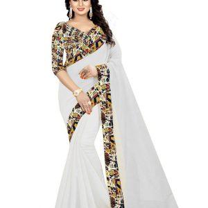 House White Chandheri Cotton Weaving Saree With Blouse