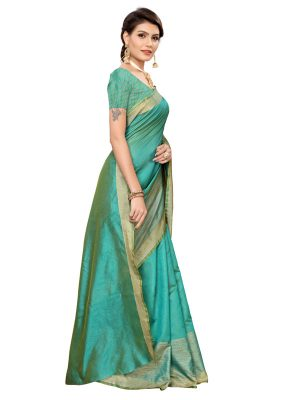 Chandrayaan Green Cotton Polyester Silk Weaving Saree With Blouse