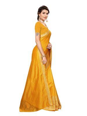 Chandrayaan Mustard Cotton Polyester Silk Weaving Saree With Blouse