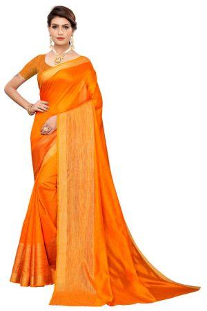 Chandrayaan Orange Cotton Polyester Silk Weaving Saree With Blouse