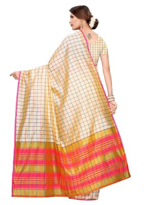 Cotton Checks Cream Cotton Polyester Silk Weaving Saree With Blouse