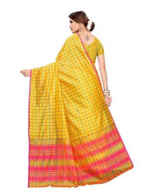 Cotton Checks Yellow Cotton Polyester Silk Weaving Saree With Blouse