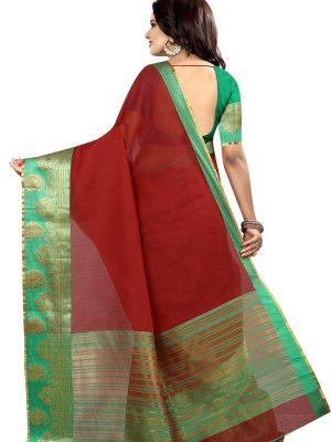 Lal Keri Cotton Polyester Silk Weaving Saree With Blouse
