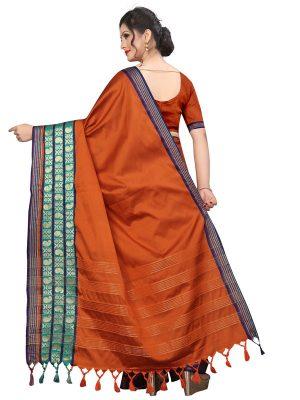 Meenakari 2 Orange Cotton Polyester Silk Weaving Saree With Blouse
