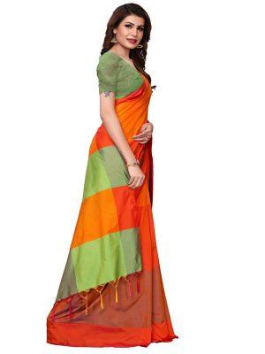 Namo Orange Cotton Polyester Silk Weaving Saree With Blouse