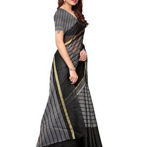 Rustam Black Cotton Polyester Silk Weaving Saree With Blouse
