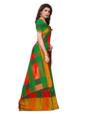 Salimar Mustard Cotton Polyester Silk Weaving Saree With Blouse