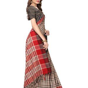 Terra Checks Black Cotton Polyester Silk Weaving Saree With Blouse