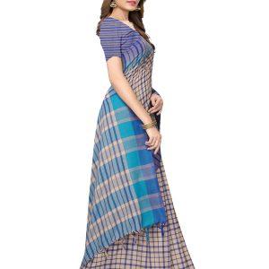 Terra Checks Blue Cotton Polyester Silk Weaving Saree With Blouse