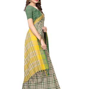 Terra Checks Green Cotton Polyester Silk Weaving Saree With Blouse