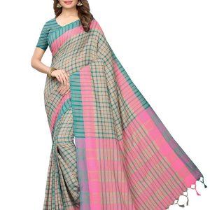 Terra Checks Rama Cotton Polyester Silk Weaving Saree With Blouse