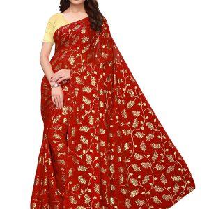 Foil Floral Red Rangoli Silk Foil Print Designer Sarees With Blouse