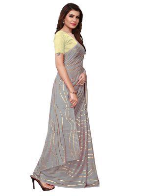Foil Lehariya Grey Rangoli Silk Foil Print Designer Sarees With Blouse
