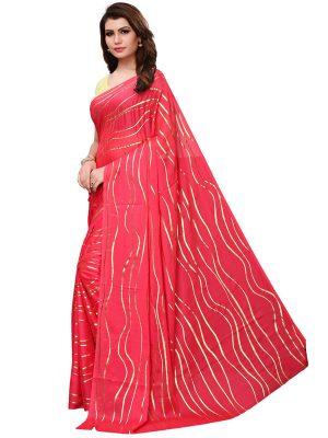 Foil Lehariya Pink Rangoli Silk Foil Print Designer Sarees With Blouse