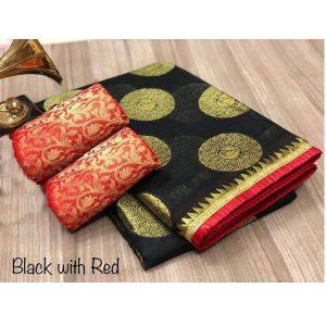 Golden Bird Black Chandheri Cotton Solid Designer Sarees With Blouse