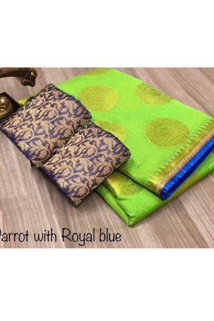 Golden Bird Green Chandheri Cotton Solid Designer Sarees With Blouse