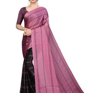 Kajal Pink Black Silk Designer Sarees With Blouse