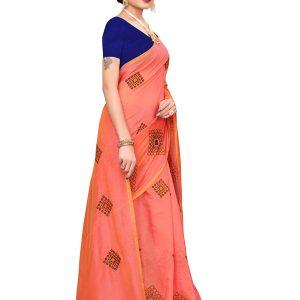 Nisha Orange Chandheri Cotton Embroidered Designer Sarees With Blouse