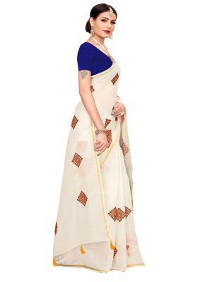 Nisha White Chandheri Cotton Embroidered Designer Sarees With Blouse