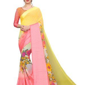 Satin Flower Georgette Satin Patta Printed Designer Sarees With Blouse