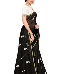 Shatranj Black Chandheri Cotton Embroidered Designer Sarees With Blouse