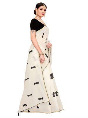 Shatranj White Chandheri Cotton Embroidered Designer Sarees With Blouse