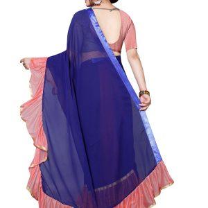 Tinder Pink Georgette Solid Designer Sarees With Blouse