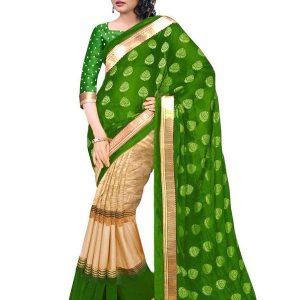 Julie Green Bhagalpuri Silk With Foil Print Sarees With Blouse