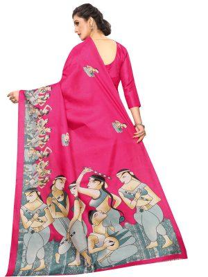 Ajanta Pink Khadi Silk Printed Kalamkaari Sarees With Blouse