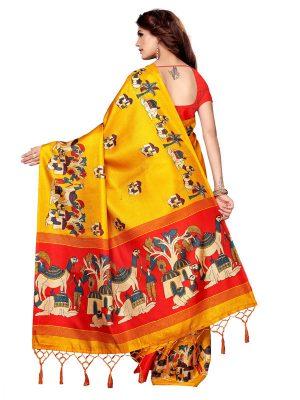 Camel Yellow Khadi Silk Printed Kalamkaari Sarees With Blouse