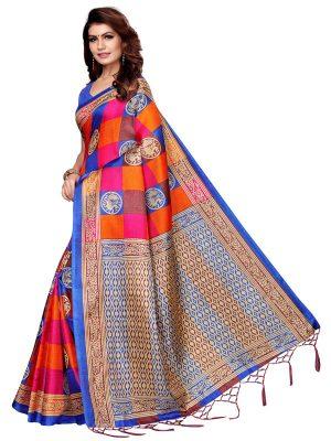 Checks Mor Blue Khadi Silk Printed Kalamkaari Sarees With Blouse