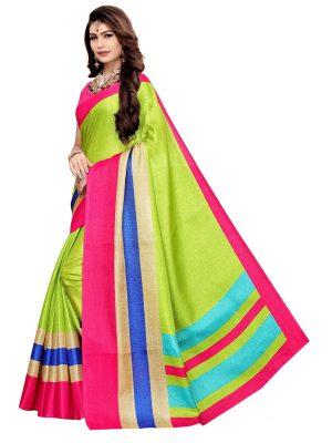 Classic Green Khadi Silk Printed Kalamkaari Sarees With Blouse