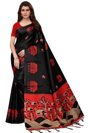 Farm House Black Khadi Silk Printed Kalamkaari Sarees With Blouse
