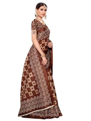Honda Coffee Khadi Silk Printed Kalamkaari Sarees With Blouse